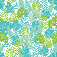 Vector blue green tropical leaves summer hawaiian seamless pattern with tropical plants and leaves on navy blue background. Great for vacation themed fabric, wallpaper, packaging.