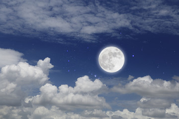 Full Moon With Cloud In Starry Night. Romantic concept.