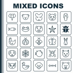 Zoology Icons Set. Collection Of Duck, Bear, Rat And Other Elements. Also Includes Symbols Such As Mice, Spider, Grizzly.