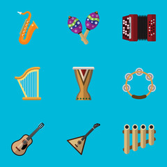 Set Of 9 Editable Music Icons. Includes Symbols Such As Timbrel, Zither, Strings And More. Can Be Used For Web, Mobile, UI And Infographic Design.
