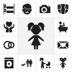 Set Of 12 Editable Family Icons. Includes Symbols Such As Diaper, Affection Letter, Save Love And More. Can Be Used For Web, Mobile, UI And Infographic Design.