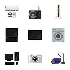 Set Of 9 Editable Tech Icons. Includes Symbols Such As Camera, Tuner, Laundromat And More. Can Be Used For Web, Mobile, UI And Infographic Design.