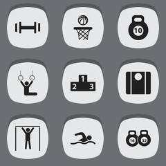 Set Of 9 Editable Sport Icons. Includes Symbols Such As Heft, Strength, Basketball And More. Can Be Used For Web, Mobile, UI And Infographic Design.