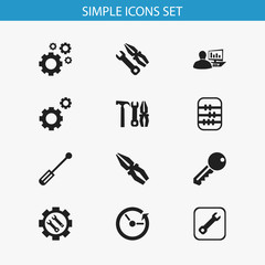 Set Of 12 Editable Toolkit Icons. Includes Symbols Such As Computer Statistics, Screwdriver, Access And More. Can Be Used For Web, Mobile, UI And Infographic Design.