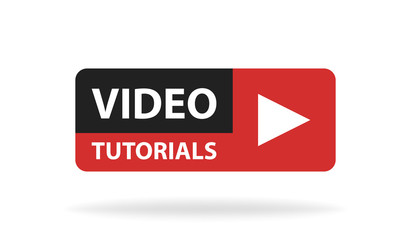 Online video tutorials education button. Play lesson concept. Vector illustration