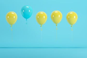outstanding blue balloon among yellow balloon concept on blue background for copyspace. minimal concept.