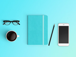 Modern office desk workplace with notebook diary, coffee cup, pencil and smartphone copy space on...