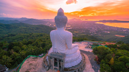 aerial photography the white great Phuket's big Buddha in the morning..