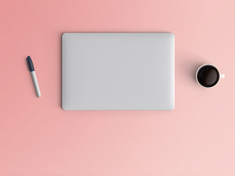 Modern workspace with closed notebook or laptop, pen and coffee cup copy space on color background. Top view. Flat lay style.