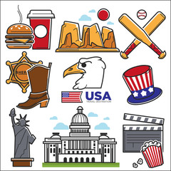 USA America culture and Amercian travel landmarks icons set
