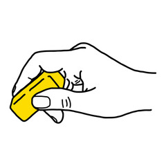 close up hand using yellow rubber eraser - vector illustration sketch hand drawn with black lines, isolated on white background