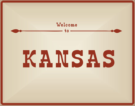 Vintage card Welcome to Kansas
