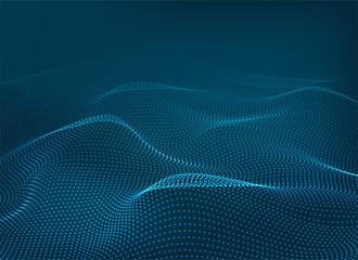 Dots wave blue 3d background