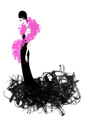 Chic Young Woman in a Black Evening Gown and Hot Pink Boa