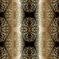 Baroque seamless pattern. Gold striped floral background wallpaper illustration with gold 3d vintage flowers, scroll swirl curve leaves and antique baroque ornaments. Vector surface luxury texture