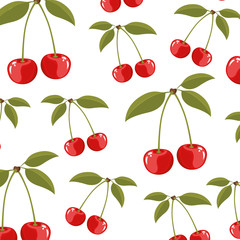 color background of pattern set cherry delicious fruits vector illustration