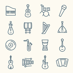 Musical instruments line icon set