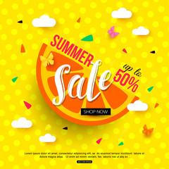 Sale banner with juicy slice of orange on colorful background. Vector illustration