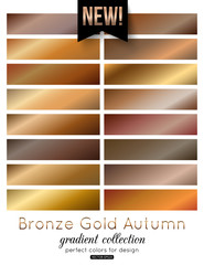 Bronze, Gold Gradient Collection. Autumn color palette, vector illustration.