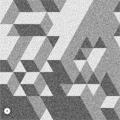 3d blocks structure background. Black and white grainy design. Stippling effect. Vector illustration.