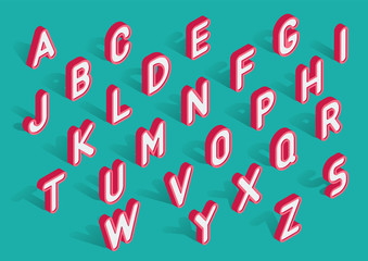 Vector trendy isometric uppercase alphabet with shadows. White 3d letters with red outline on turquoise background.