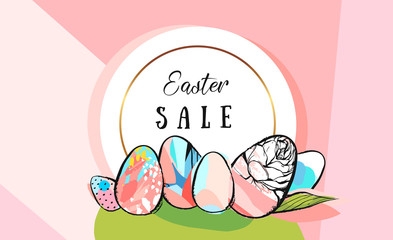Easter sale tulips eggs and text EPS 10 vector royalty free stock illustration for greeting card, ad, promotion, poster, flier, blog, article, social media