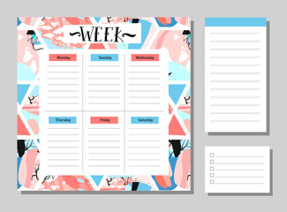 Cute Calendar Daily and Weekly Planner Template. Note Paper and Stickers Set with Vector Funny Animals Illustrations. Good for Kids. Cute Background. Organizer and Schedule with place for Notes.