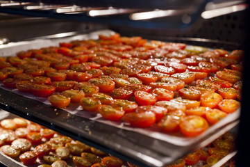 Cherry tomatoes drying in the oven