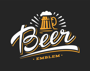 Mug beer logo- vector illustration, emblem brewery design on dark background