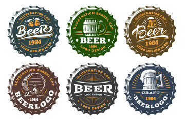 Set beer logo on caps - vector illustration, emblem brewery design on white background