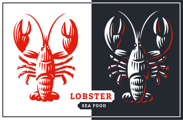 Lobster vector illustration. Crustacean in a vintage style on white and dark background.