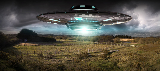 Deurstickers UFO UFO invasion on planet earth landascape 3D rendering