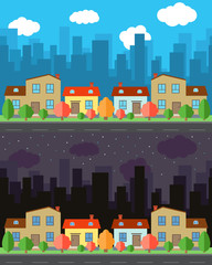 Vector city with four one and two-story cartoon houses in the day and night. Summer urban landscape. Street view with cityscape on a background