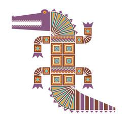 Цветное изолированное декоративное изображение крокодила с геометрическими узорами из треугольников и квадратов.