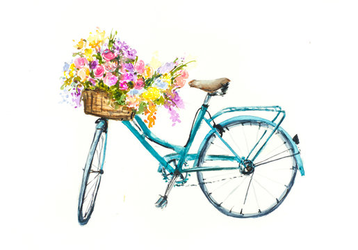 Retro blue bicycle with flowers in basket on white isolation, watercolor hand drawn on paper