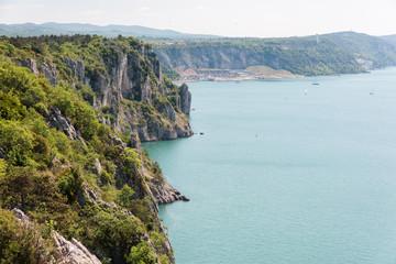 Karst rocks overlooking the sea. The beauty of the North Adriatic coast
