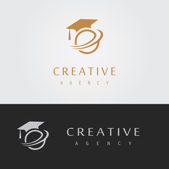letter E graduation logo