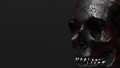 Silver human skull with dark background. Death, horror, anatomy and halloween symbol.