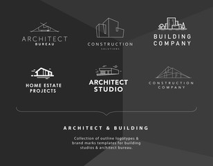 Vector flat construction company and architect studio logo design isolated.