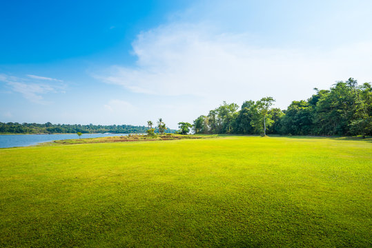 green grass field with lake in public park