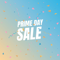 Sale Prime day sale. Banner with flying confetti pieces and typography. Sale background