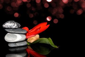 красивая каменная пирамида с красным цветком  и листком