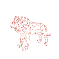 Abstract lion. Isolated on white background. Vector outline illustration.