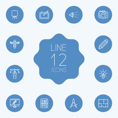 Set Of 12 Creative Outline Icons Set.Collection Of Dslr Camera, Idea, Vision And Other Elements.