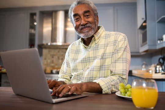 Portrait of senior man using laptop computer