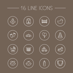 Set Of 16 Baby Outline Icons Set.Collection Of Pyramid, Balloon, Diaper And Other Elements.