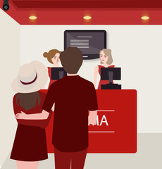 couple buy purchase movie ticket counter theater
