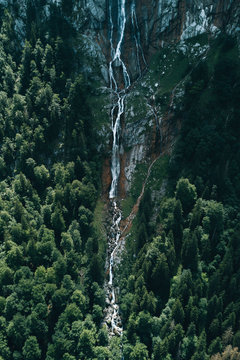 Germany's highest Waterfall in a forest on the edge of a mountain.
