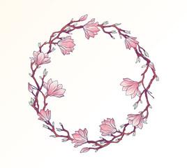 Magnolia floral circle frame template