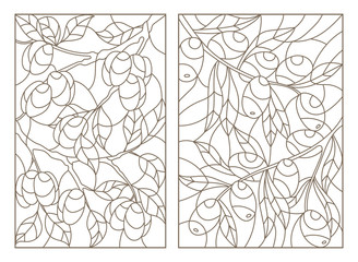 Set contour illustrations of stained glass, the branch of a olive tree and a plum tree with ripe fruits